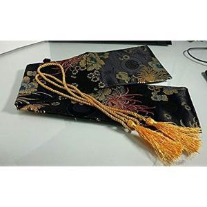 Chicca Cerchio キッカチェルキオ 刀袋 牡丹柄 短刀 小太刀 黒(牡丹, 70cm)|horikku
