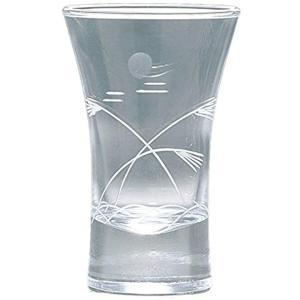 冷酒 杯 切子杯 ススキと月 グラス 盃 食洗機対応 110ml[09112-78] horikku