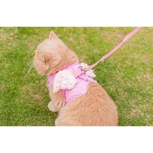 Cantaloupe カンタロープ猫用 ピンクの天使 レース ハーネス リード付 胴輪 ペット お出かけ お散歩[canta-cat](ピンク)|horikku