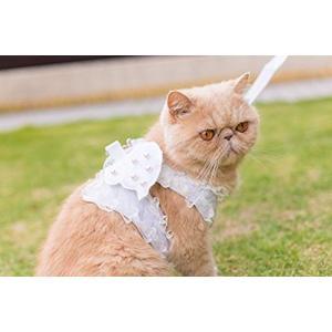 Cantaloupe カンタロープ猫用 白の天使 レース ハーネス リード付 胴輪 ペット お出かけ お散歩[canta-cat](白)|horikku