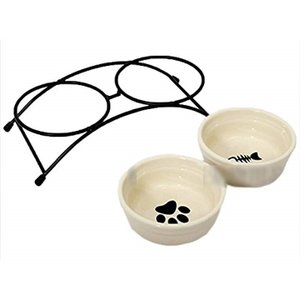 かわいい デザイン フード スタンド & ボウル セット ご飯 入れ 物 食事 水 おやつ 小動物 ペット[MI-LWS-5330]|horikku