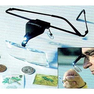 「ライトハウス社製」LEDライト付き 眼鏡タイプの拡大鏡 虫眼鏡 1.5-3.5倍[76443210]|horikku
