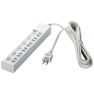 ・上面に6個口を搭載した2ピンタイプの電源タップです。 ・個別スイッチにより、接続機器毎にオン/オフ...