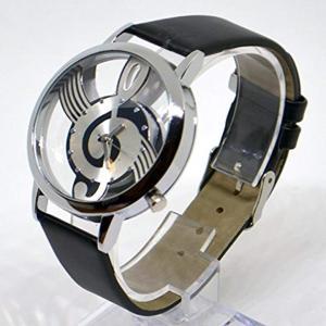 腕 時計 NOTE MUSIC 文字盤 音符 スケルトン ユニーク デザイン ファッション カジュアル[ZM-SUKEONPU-BK](ブラック)|horikku