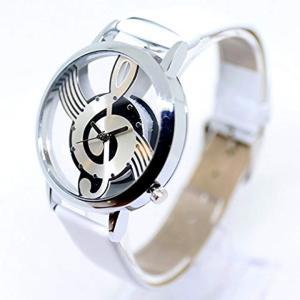 腕 時計 NOTE MUSIC 文字盤 音符 スケルトン ユニーク デザイン ファッション カジュアル[ZM-SUKEONPU-WH](ホワイト)|horikku