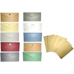メッセージカード 封筒 つき 手紙 便箋 レターセット ロング 10色(マルチカラー)|horikku