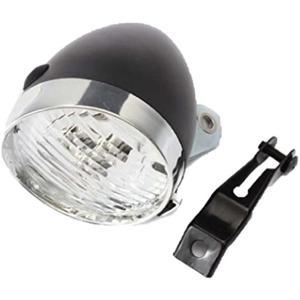 自転車 ヘッド ライト 砲弾型 3 LED レトロ クラシック デザイン 電池式 金具 付 ブラック(黒)|horikku