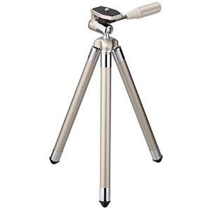 ・ロッドアンテナのように引き伸ばす8段式で、伸ばせば107cmの高さになる小型三脚。 ・コンパクトカ...