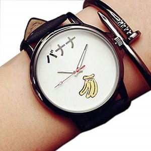 おもしろ ウォッチ シンプル デザイン 文字盤 アナログ 腕 時計 ファッション ユニーク[ZM-TABEMOJI-BAWH](バナナ:ホワイト)|horikku