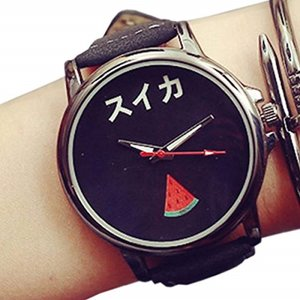 おもしろ ウォッチ シンプル デザイン 文字盤 アナログ 腕 時計 ファッション ユニーク[ZM-TABEMOJI-SUBK](スイカ:ブラック)|horikku