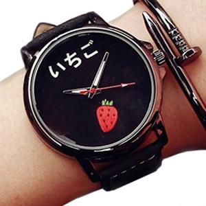 おもしろ ウォッチ シンプル デザイン 文字盤 アナログ 腕 時計 ファッション メンズ[ZM-TABEMOJI-ITIBK](イチゴ:ブラック)|horikku