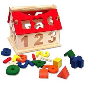 木のおもちゃ 家型 型はめ 立体パズル 積み木 ブロック