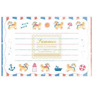 ミニレターセット サマー 海と柴犬 1682304 (A-7) 便箋6枚・封筒3枚 奉書紙 夏柄 NB エヌビー|horiman
