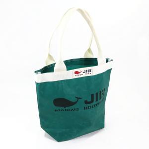 JIB バケツトートバッグ Sサイズ BKS33 モスグリーン×アイボリー ファスナーなし 8文字まで名入れ無料 セイルクロスバッグ エコバッグ 軽い クジラ 大きめ ジ horiman