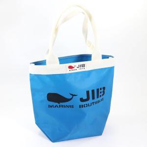 JIB バケツトートバッグ Sサイズ BKS33 ロケットブルー×アイボリー ファスナーなし 8文字まで名入れ無料 セイルクロスバッグ エコバッグ 軽い クジラ 大きめ horiman