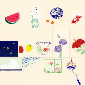 鳩居堂 夏のハガキ 13枚セット kyu-54 入道雲 スイカ ウチワ ハイビスカス 風鈴 渚 夏の花 パプリカ、トルコ桔梗 金魚 蛍 シルクスクリーン印刷 き|horiman