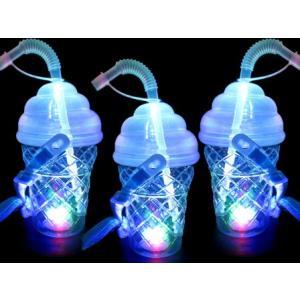 光るソフトクリーム型ボトル ストラップ付 400ml【タピオカ用ストロー対応】(6個入) horishoten