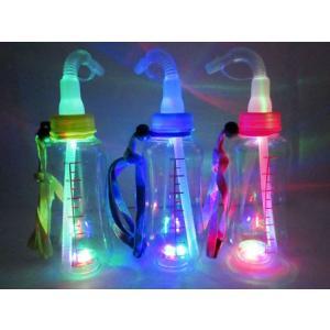 光るおもちゃ 光る哺乳瓶ボトル 400ml ストラップ付(ストロータイプ)(12個入) horishoten