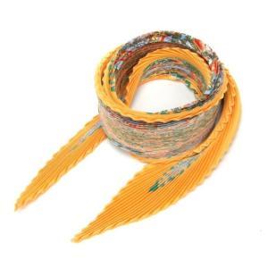 エルメス  プリーツスカーフ AxisMundi 世界の中心軸 オレンジ・グリーン・ブルー【中古】(20413)(20413)|horita78