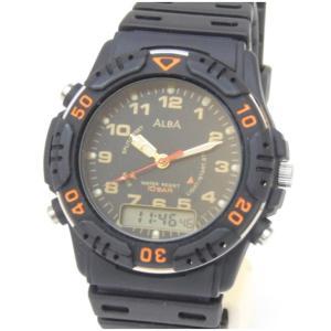 セイコー SEIKO 男女兼用腕時計 アルバ ALBA クオーツ ラバーベルト V072-0010 黒 【中古】(47824)|horita78