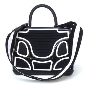 デルボー DELVAUX ハンドバッグ ザ・チャンピオン 2WAY ショルダーストラップ付き ブリヨン 黒×白 ビニール×ラバー(47830) horita78 02