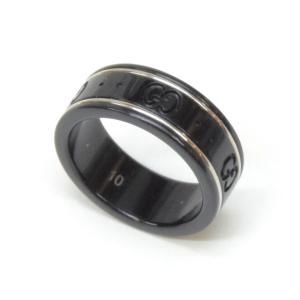 グッチ GUCCI 指輪 アイコンリング /ホワイトゴールド×セラミック/750WG 2.0g #10 【中古】(48016) horita78