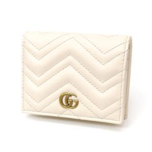 グッチ GUCCI 二つ折り財布 カードケース 札入れ GGマーモントライン 443125 アイボリー レザー(48969)|horita78