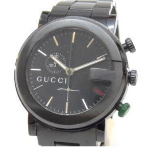 グッチ GUCCI メンズウォッチ 腕時計 クロノグラフ クオーツ 101M 黒 ステンレススチール 【中古】(49292)|horita78