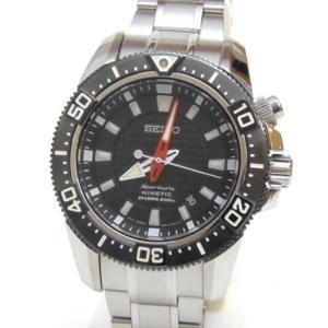 セイコー メンズウォッチ 腕時計 キネティック ダイバー 自動巻き SKA51P1 黒盤 ステンレススチール 【中古】(49681)|horita78