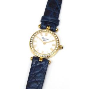 クリスチャン・ディオール Christian Dior レディースウォッチ 腕時計 クオーツ ラインストーン入り 3053 シェル盤 【中古】(50403)|horita78