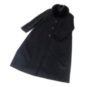 東京スタイル BIPLAN ブルーフォックス襟付きコート 黒 カシミヤ100% 【中古】(50440)|horita78