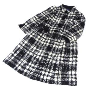 エムズグレイシー M'S GRACY クラシカルチェックコート リボン 黒×白 【中古】(50820)|horita78