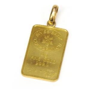 スイスバンク SWISS BANK 24金 インゴット ペンダントトップ ゴールドバー 純金 K18枠 5.4g 【中古】(50957) horita78