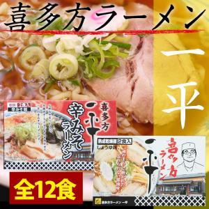 送料無料 喜多方ラーメン「一平」セット12食(乾麺) 辛味噌味と醤油味|hot-emu