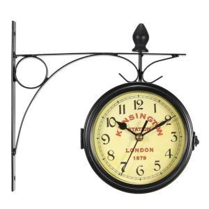 ヴィンテージ装飾 両面 金属壁時計 アンティークスタイル ステーション 壁時計 壁掛時計|hot-style