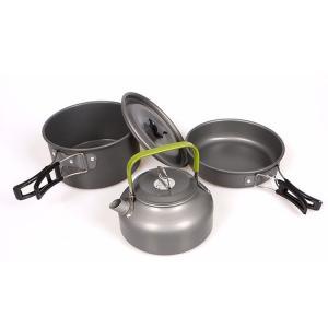 キャンピング 鍋 フライパン やかん 3点セット アウトドア用 キャンプ ハイキング 調理器具 食器セット|hot-style