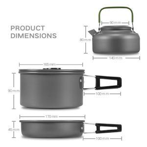 キャンピング 鍋 フライパン やかん 3点セット アウトドア用 キャンプ ハイキング 調理器具 食器セット|hot-style|02