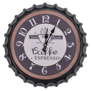 壁掛け時計 レトロ王冠スタイル Coffee ESPRESSO コーヒーエスプレッソ インテリア時計|hot-style