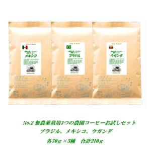 初回限定No.2無農薬栽培3種コーヒーセット各80g計240...