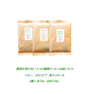 無農薬・有機栽培原料100%3つの農園コーヒーお試しセットのご案内です。多くの皆様に無農薬・有機栽培...