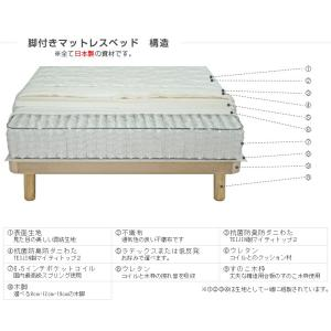 送料無料 ベッド マットレス付き 脚付きマットレスベッド ダブル ピロートップ6.5インチポケットコイル 「国産 日本製」 マットレスベッド|hotakebed|08