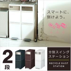 ゴミ分別 スイングステーション(ワイド2段) ゴミ箱 ごみ箱 分別 おしゃれ ダストボックス SALE セール品 セール くずかご|hotchpotch