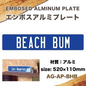 エンボス アルミプレート BEACH BUM 520mm×110mm インテリア雑貨 サーフィン USA アメリカ ハワイ/AG-AP-BHB|hotroad