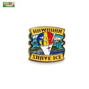 ハワイアン ピンバッジ シェイブアイス バッジ かばんやキャップ帽などに ハワイ お土産 PICK The HAWAII BL-PB-SV|hotroad