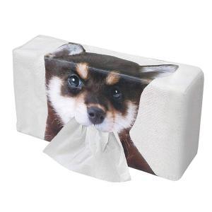 豆しばプリントティッシュケース 黒 ティッシュBOX入れ 口からティッシュが出る 柴犬 明邦 ME152 hotroad