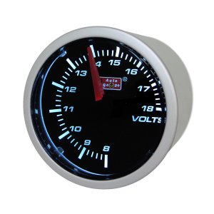 オートゲージ:52φ 2inch スモークメーター 電圧計 ホワイトLED/52-ASMVOSWL-270|hotroad