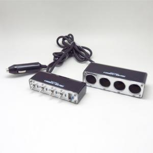 セパレートトグルスイッチ付き 4連シガーソケット DC12V車 USBポート(2.1A)付 4連ソケット パイロットランプ 増設/ブレイス BS-500 hotroadparts