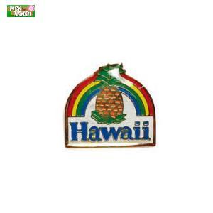 ハワイアン ピンバッジ パイナップルレインボウ バッジ かばんやキャップ帽などに ハワイ お土産 PICK The HAWAII KC-PB-PNR|hotroadparts