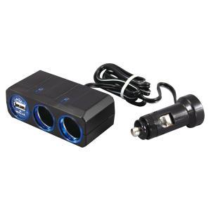 ヤック:2連シガーソケット アクセサリーソケット シガーライター USB 2.4A 充電 DC12V用 リングライトソケット/PZ-707|hotroadparts