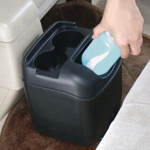 車 ゴミ箱 黒 ブラック ペットボトルも置けるドリンクホルダーつき ヤック/PZ-110|hotroadparts|03